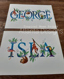 Personalised Name Prints - Tropical Animals