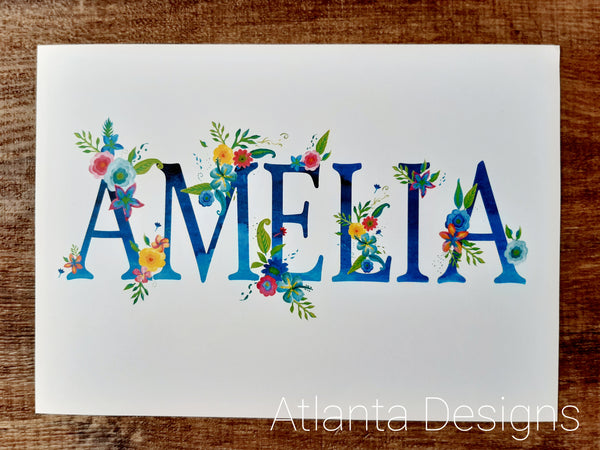 Personalised Name Prints - Summer Flowers