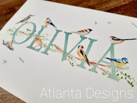 Personalised Name Prints - Garden Birds