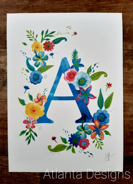 Alphabet Prints - Tropical Flowers - Personalised Gifts