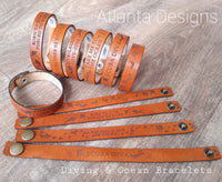 Engraved Leather Bracelets - Men's & Women's Sizes (Diving & Ocean Theme)