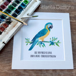 Blue Throated Macaw Parrot Print - Choose Your Quote!