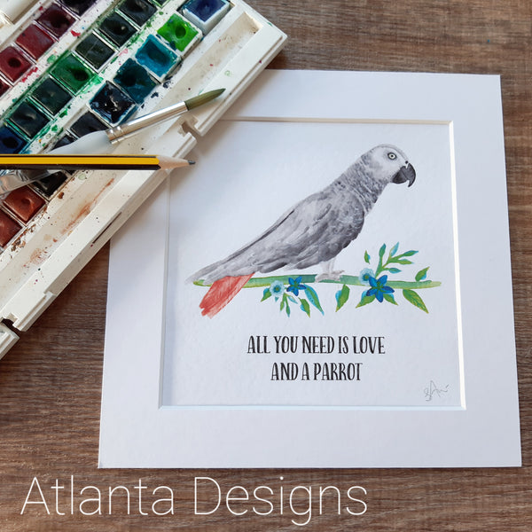 African Grey Parrot Print - Choose Your Quote!