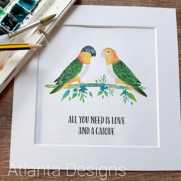 Caique Parrot Print - Choose Your Quote!