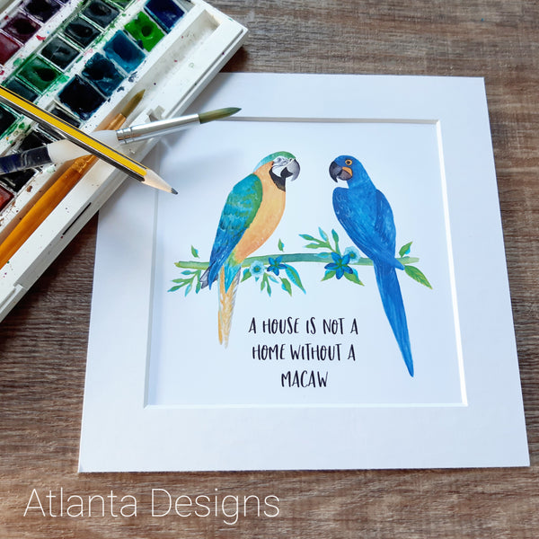 Two Macaws Parrot Print - Choose Your Quote!