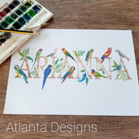 Personalised Name Prints - Tropical Parrots