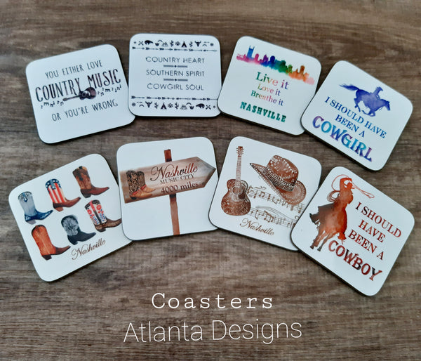Custom Coasters - ALL DESIGNS! Country Music & Cowboys