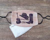 Face Mask With Filter - Country Music - Boots & Hat