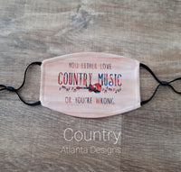 Face Mask With Filter - Love Country Music