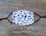 Face Mask With Filter - Scuba Diving & Sealife Mix