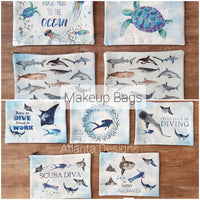 Suba Diving Themed Makeup Bags