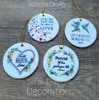 Set of 4 Ceramic Hanging Decorations - Bible Verses GBF #2