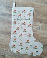 PERSONALISE ME! Large Christmas Stocking - Robin & Holly
