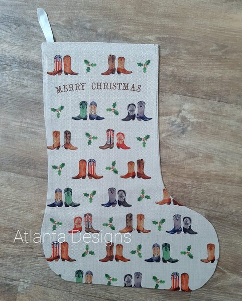 PERSONALISE ME! Large Christmas Stocking - Cowboy Boots & Country Music