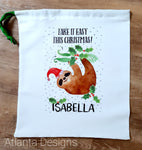 Personalised Christmas Stocking - Sloth