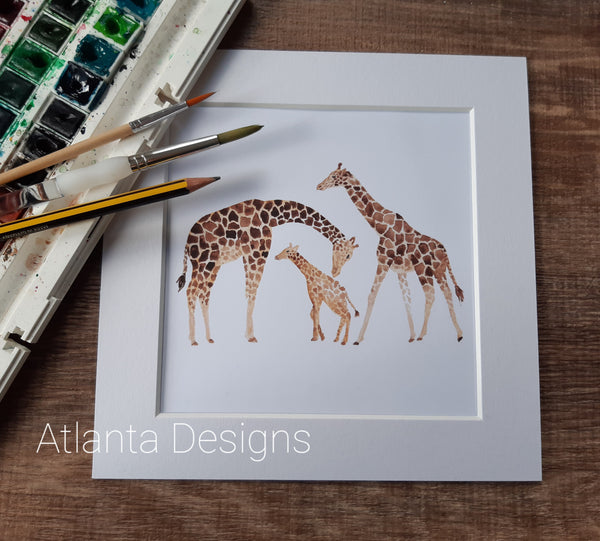 "Giraffe Family - 8"" Mounted Watercolour Print"
