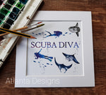 Scuba Diving - Mounted Watercolour Print