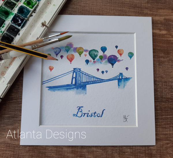 "Bristol Bridge & Hot Air Balloons - 8"" Mounted Watercolour Print"