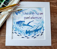 "Scuba Diver Adventure - 8"" Mounted Watercolour Print"