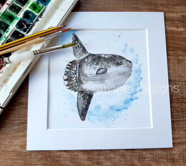 "Sunfish - 8"" Mounted Watercolour Diving Print"