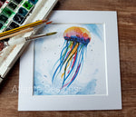 "Jellyfish - 8"" Mounted Watercolour Diving Print"