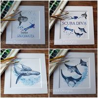 "SCUBA DIVING COLLECTION 8""x8"" Watercolour Prints"