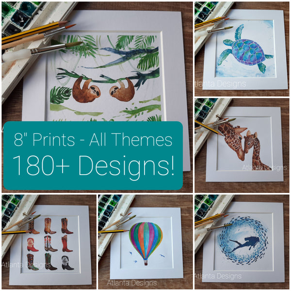 "8""x8"" Watercolour Prints - ALL DESIGNS"