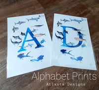 A4 Scuba Diving & Sea Life Alphabet Prints