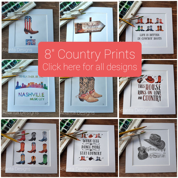 "COUNTRY MUSIC & COWBOYS - 8""x8"" Watercolour Prints"