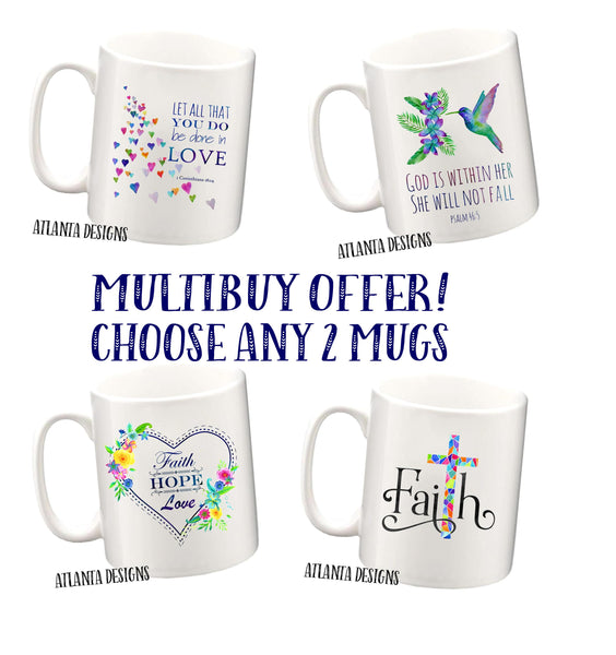 MULTIBUY OFFER 2 Bible Verse Mugs for £18.99 - GBF