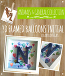 ANIMALS & BALLOONS - 3D Framed Initial - Balloons Print - Illustrated Gift