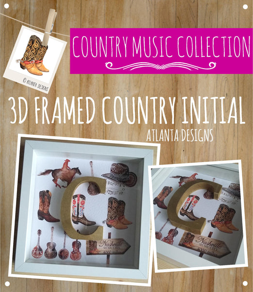 COUNTRY & COWBOYS - 3D Framed Country Initial -Personalised Illustrated Gifts & Prints