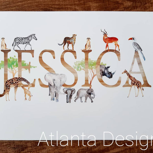 Personalised Name Prints - Safari Animals