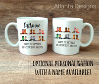 PERSONALISE ME! Country Music Boots Mug with Optional Coaster Upgrade