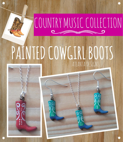 COUNTRY & COWBOYS - Handpainted Cowgirl Boot Necklace & Earrings - Jewellery
