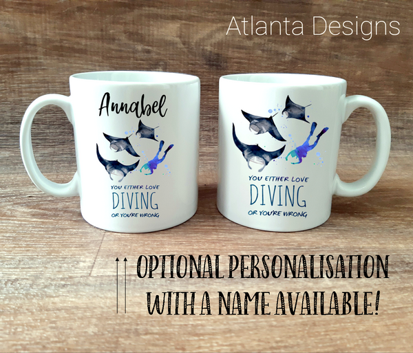 PERSONALISE ME! Scuba Diving & Manta Ray Mug with Optional Coaster Upgrade