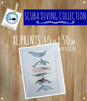 SCUBA DIVING - XXL Watercolour Prints A3+