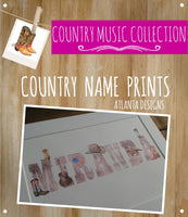 COUNTRY & COWBOYS - Personalised Name Watercolour Prints