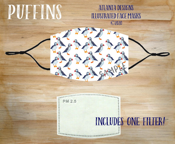 Face Mask With Filter - Puffins