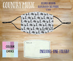 Face Mask With Filter - Country Music Pattern 2