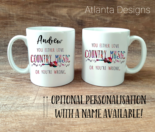PERSONALISE ME! Love Country Music Mug with Optional Coaster Upgrade