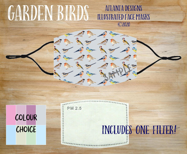 Face Mask With Filter - Garden Birds Pattern