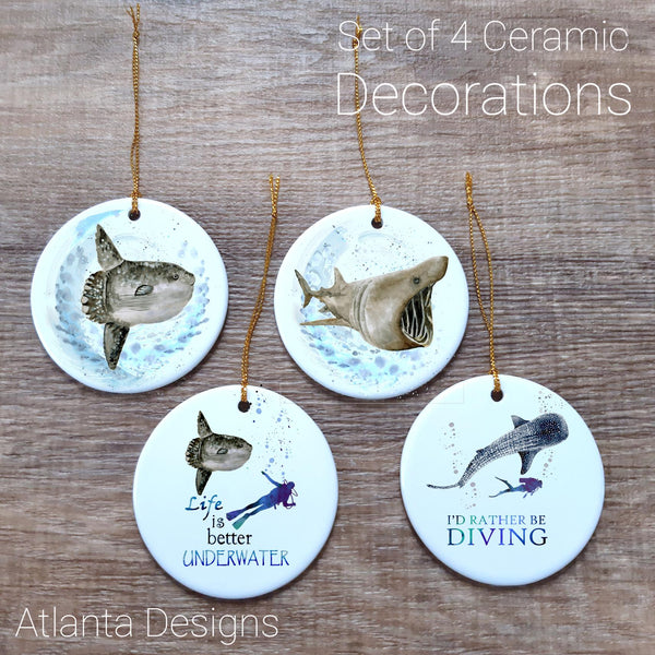 Scuba Diving - Set of 4 Ceramic Hanging Decorations