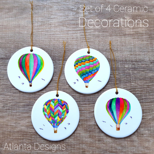 Hot Air Balloons - Set of 4 Ceramic Hanging Decorations