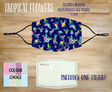 Face Mask With Filter - Tropical Flowers