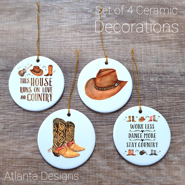 Country & Cowboys - Set of 4 Ceramic Hanging Decorations