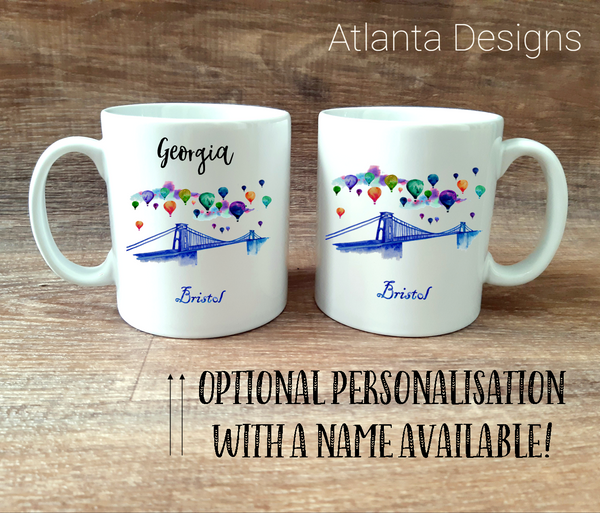 PERSONALISE ME! Bristol Suspension Bridge & Hot Air Balloon Mug with Optional Coaster Upgrade