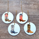 Country & Cowboy Boots - Set of 4 Ceramic Hanging Decorations