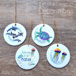 Ocean & Sealife - Set of 4 Ceramic Hanging Decorations