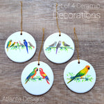Parrots Set of 4 Ceramic Hanging Decorations